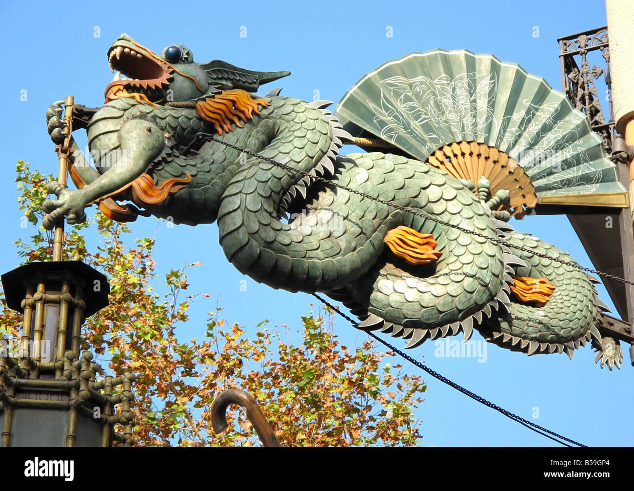 Art deco dragon designed as shop sign for former umbrella - Art deco barcelona ...
