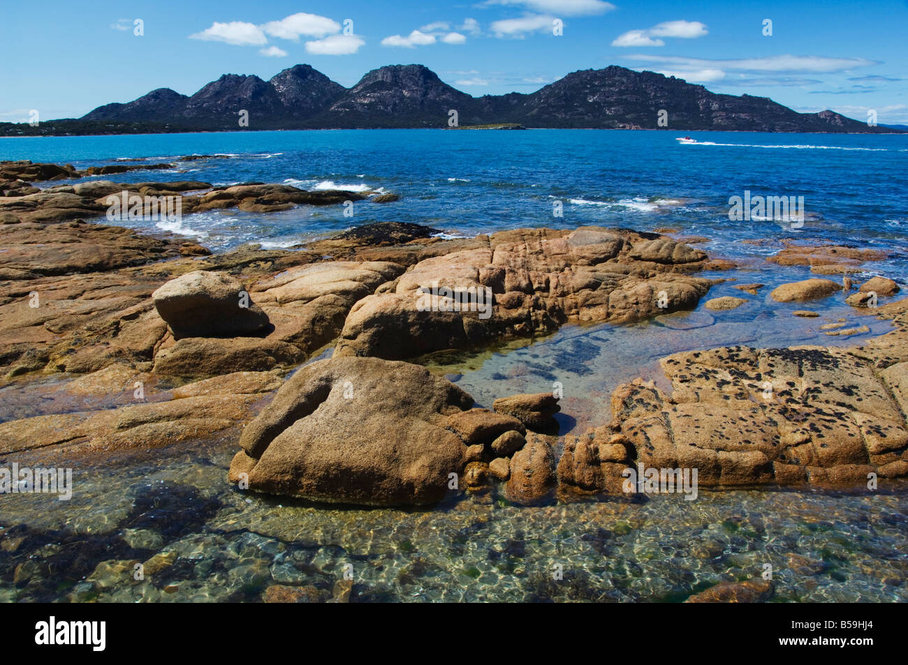 Lichen covered red granite rocks at the hazards mountain for Landscaping rocks tasmania