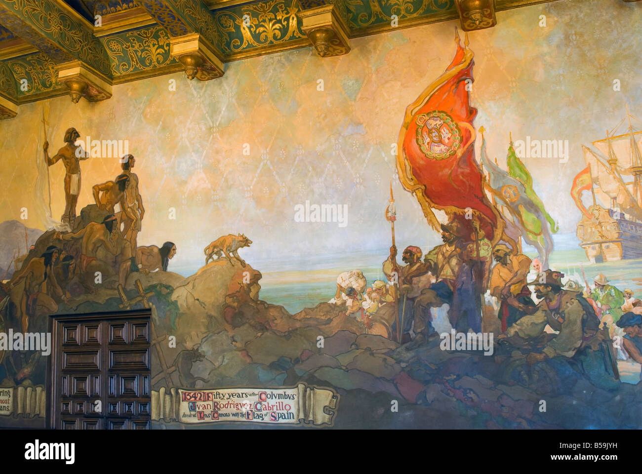Mural of cabrillo arrival at las canoas and canalino indians at mural stock photo royalty free for Mural room santa barbara