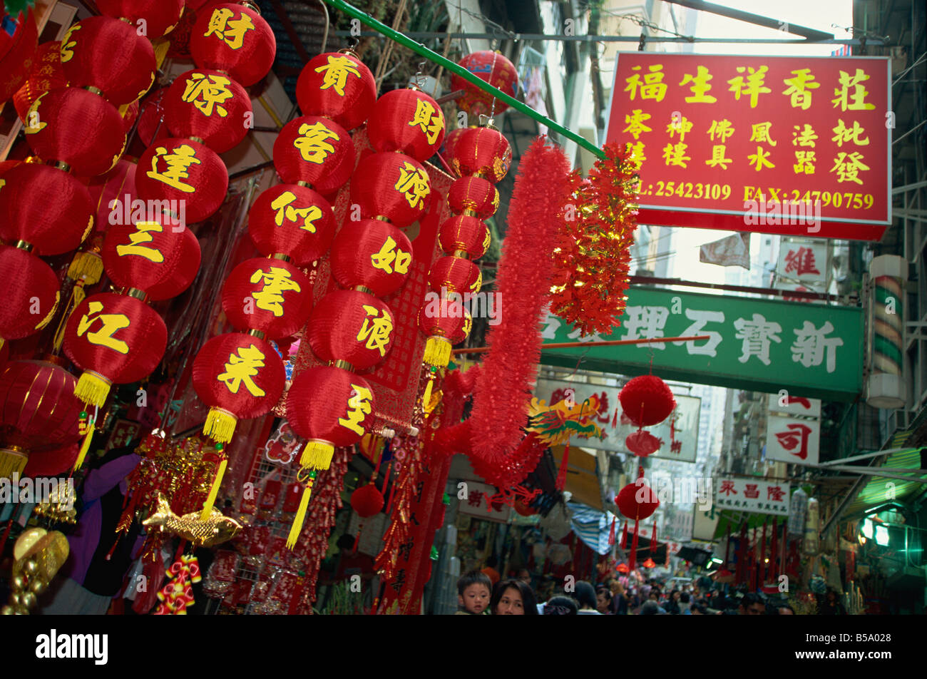 Decorations for chinese new year for sale in a street in for Chinese decorations