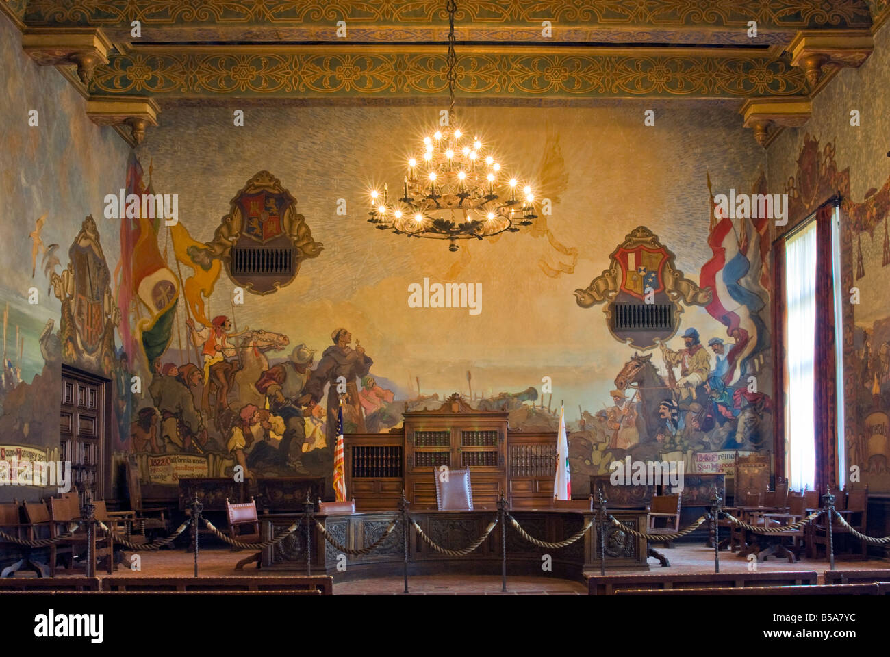 Wall painting at mural room county courthouse santa barbara stock photo royalty free image for Mural room santa barbara