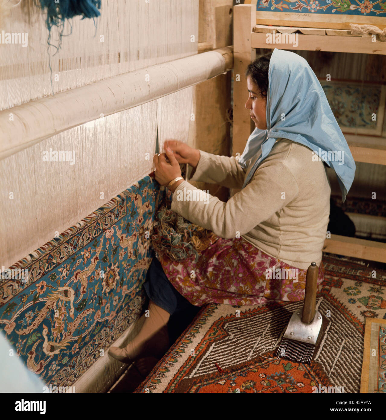 Woman Weaving Carpet On Loom Iran Middle East R Ashworth