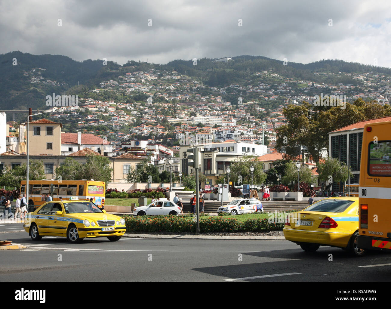 View Of Houses On The Hillside At Praca Da Autonomia Funchal Stock Photo Royalty Free Image