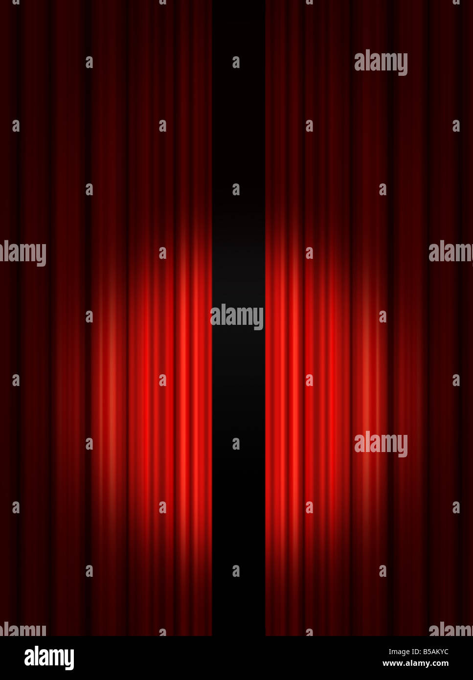 Red stage curtain with lights - Spotlight On Red Theatre Stage Curtains