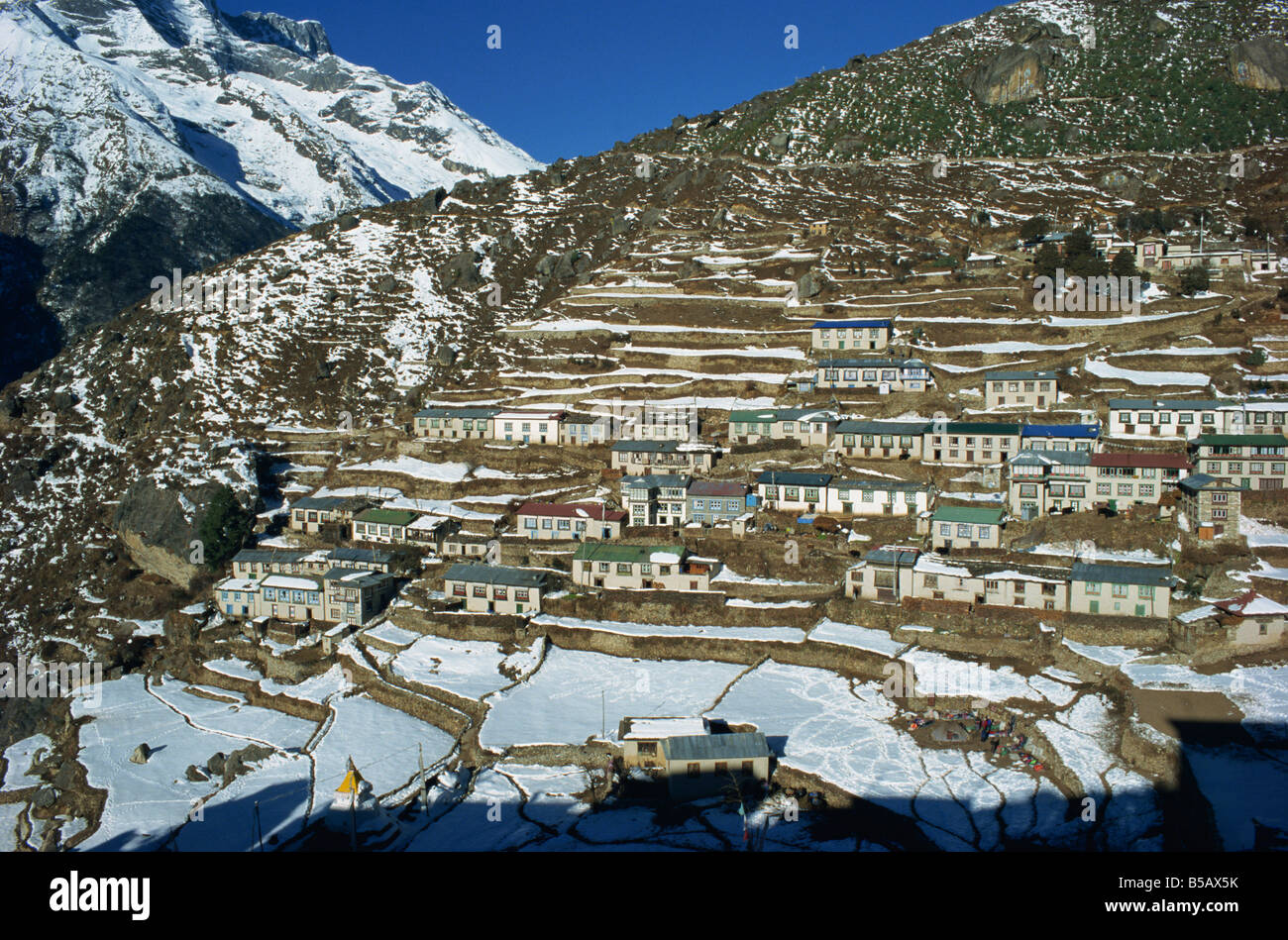 Houses And Terraced Fields Under Snow At Namche Bazaar In