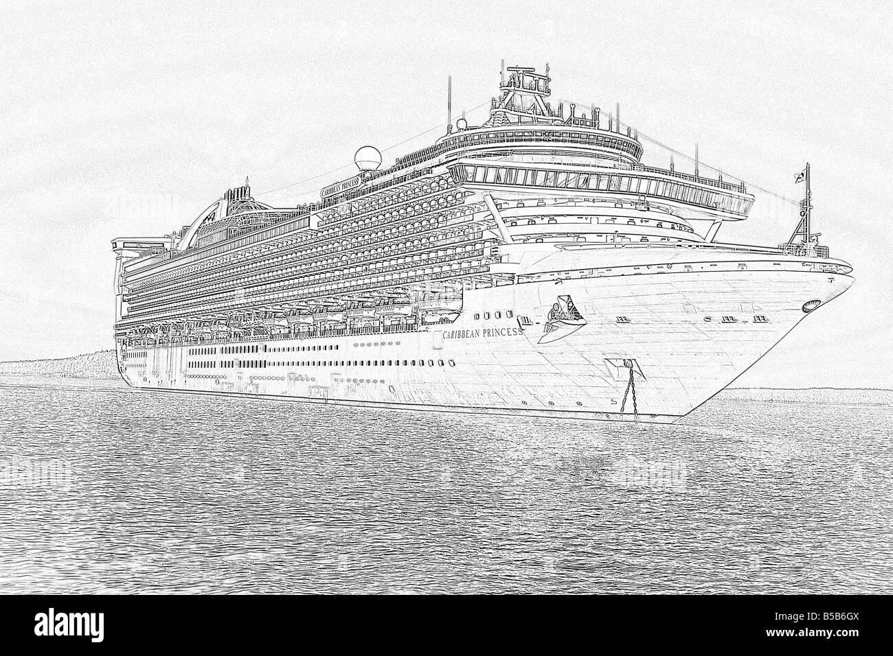 sketch of princess cruise ship stock photo royalty free