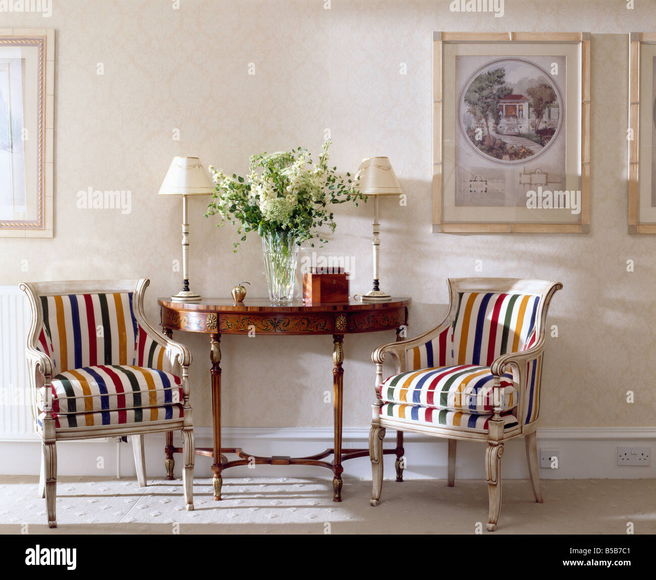 Marvelous Multi Coloured Striped Upholstered Chairs On Either Side Of Antique Console  Table In Traditional Cream Hall