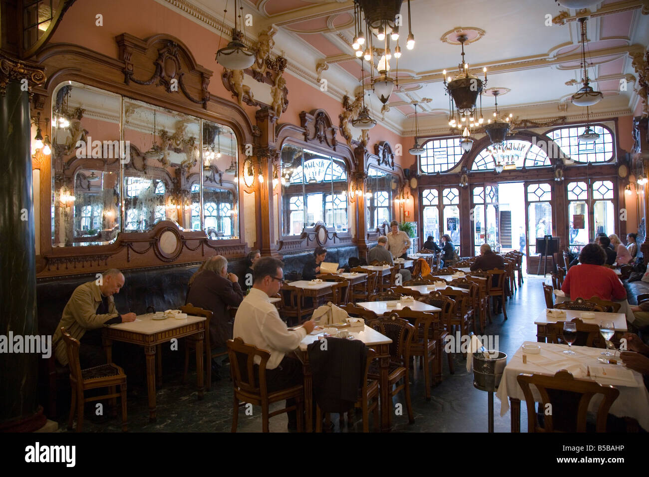 Interior benchwork of the belle epoque art nouveau cafe majestic stock phot - Belle epoque interiors ...