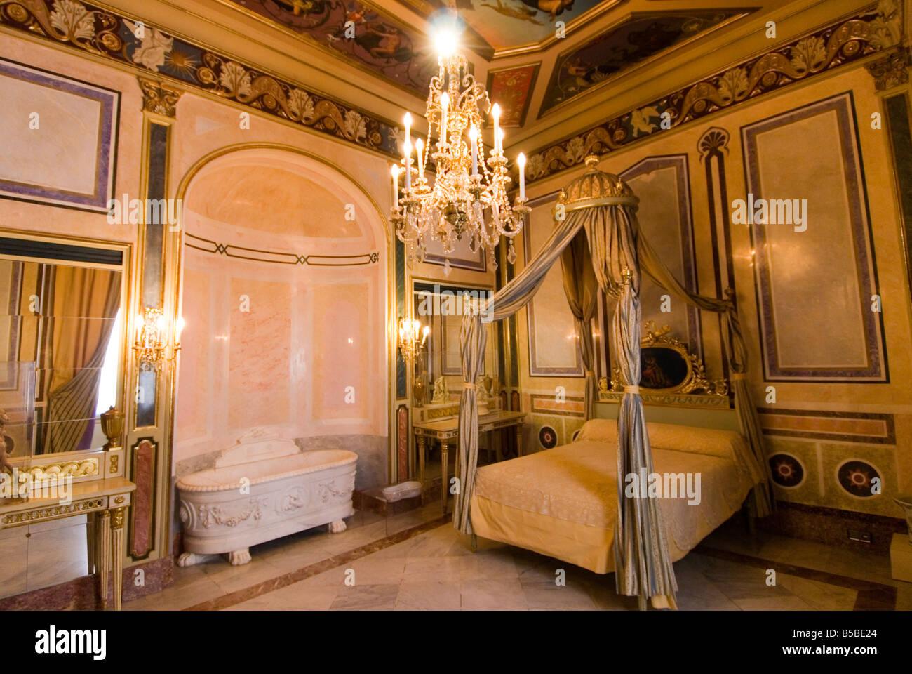 The Marquis bedroom inside the Palacio del Marques de Dos Aguas which Stock P...