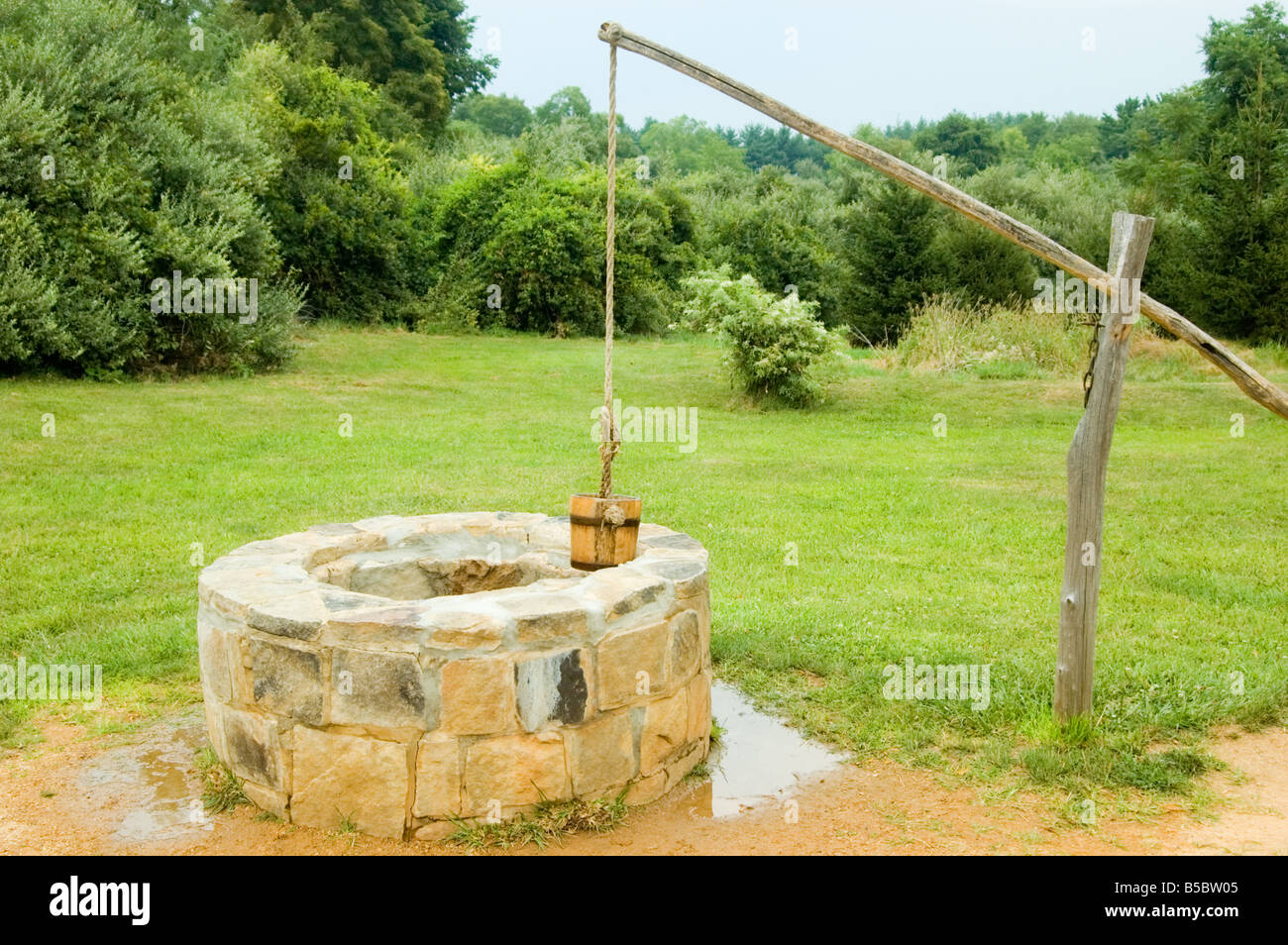 water well with bucket and lever Stock Photo, Royalty Free Image ...