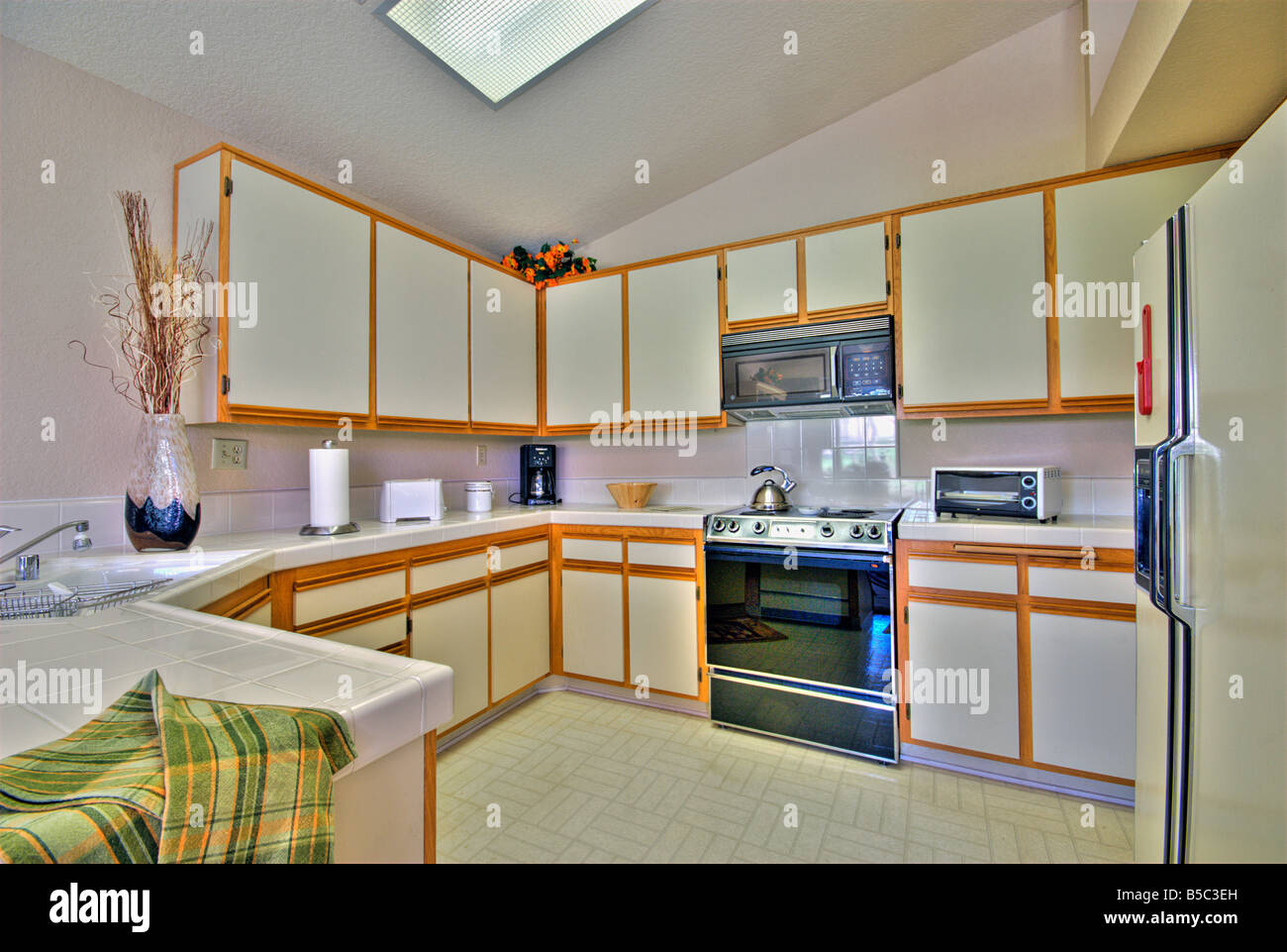 Oasis Country Club, Palm Desert Kitchen Interior White Wood Trim HDR  Lighting Panoramic House Home Appliances Horizontal