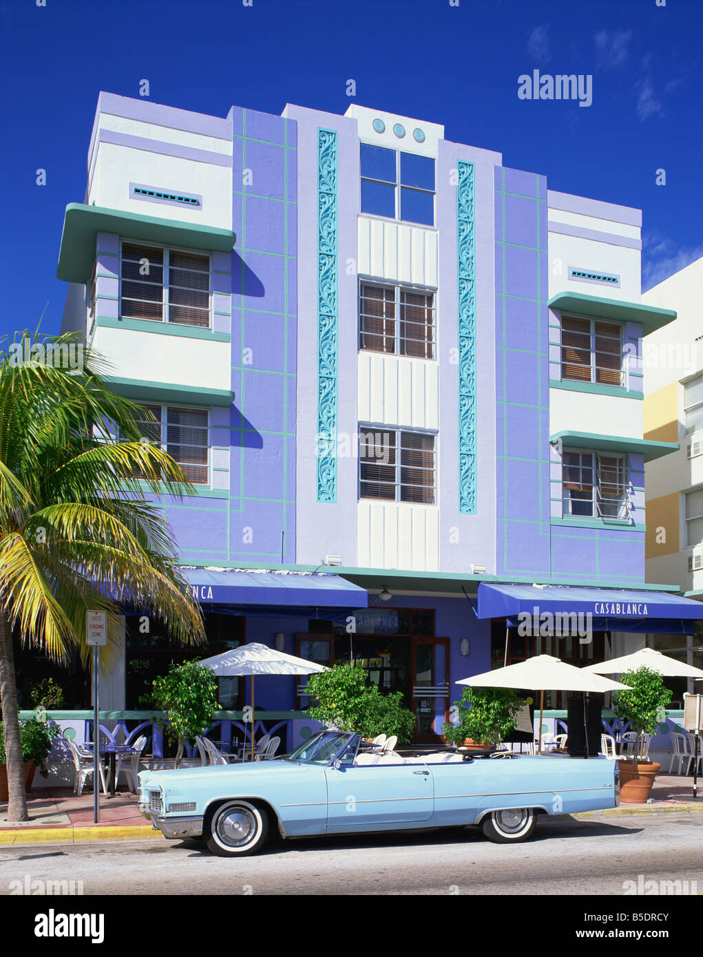 classic american car outside the casablanca hotel ocean. Black Bedroom Furniture Sets. Home Design Ideas