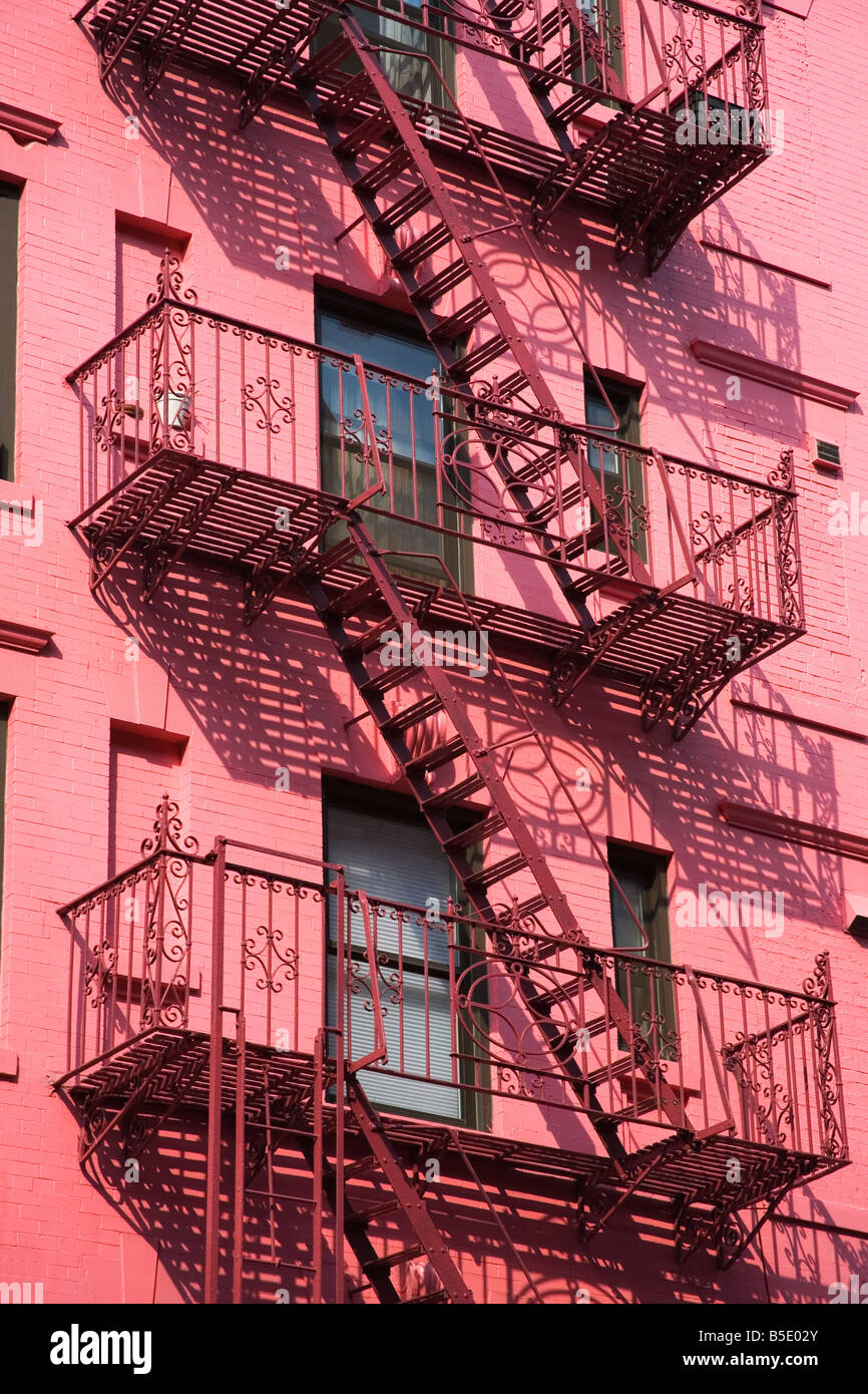 Pink Apartment Building in Soho District, Downtown Manhattan, New York  City, New York, USA, North America