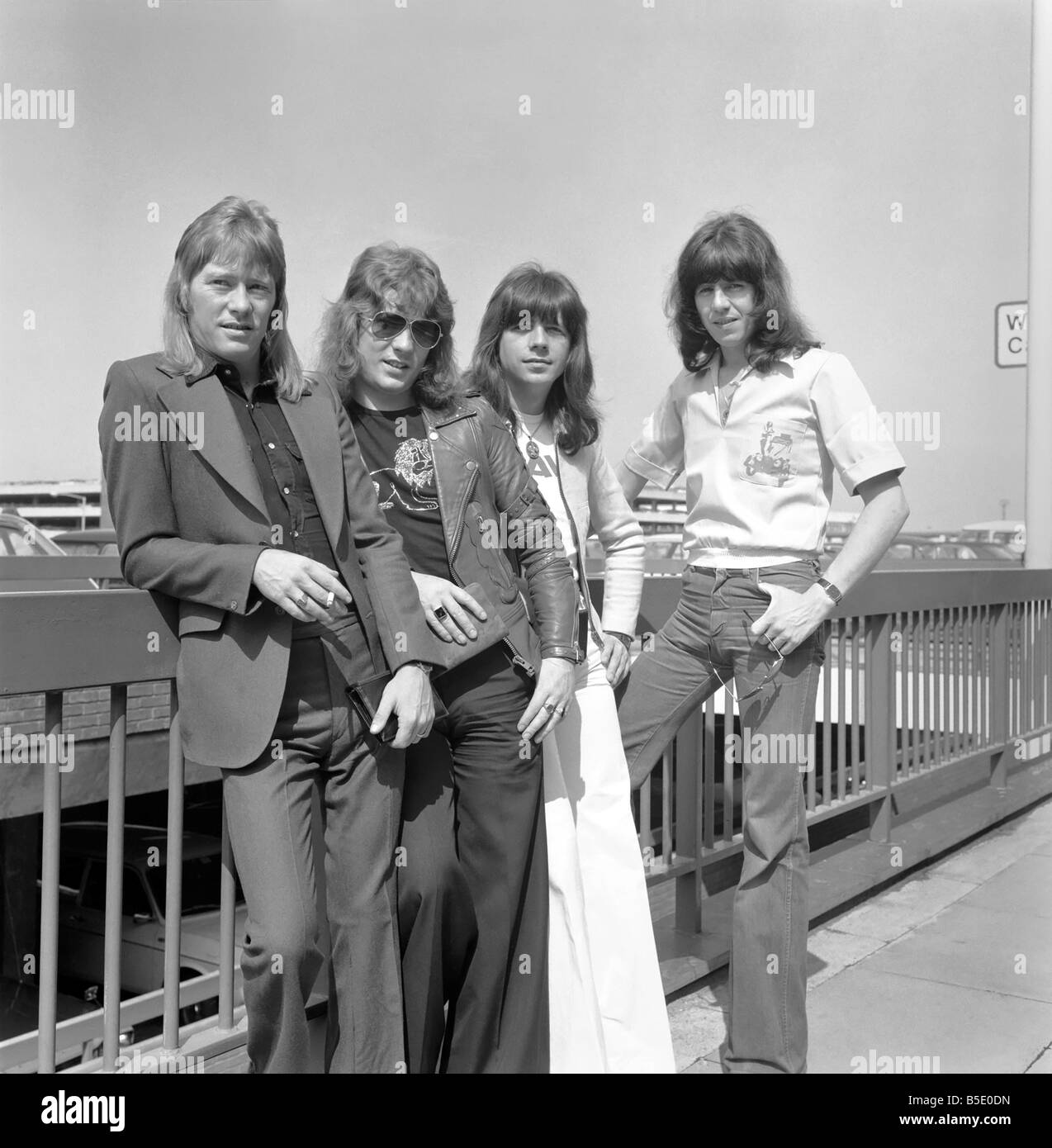 pop group the sweet at london airport june 1975 stock photo royalty free image 20591361 alamy. Black Bedroom Furniture Sets. Home Design Ideas