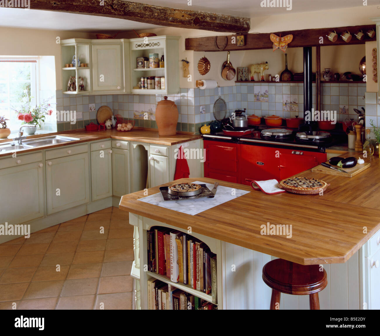 Island Unit With Wooden Worktop In Traditional Country