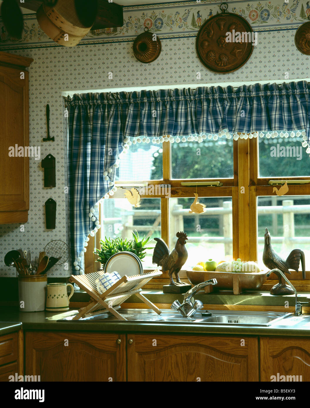 Blue U0026 White Checked Curtains And Pelmet On Window Above Plate Rack On  Draining Board Of Kitchen Sink