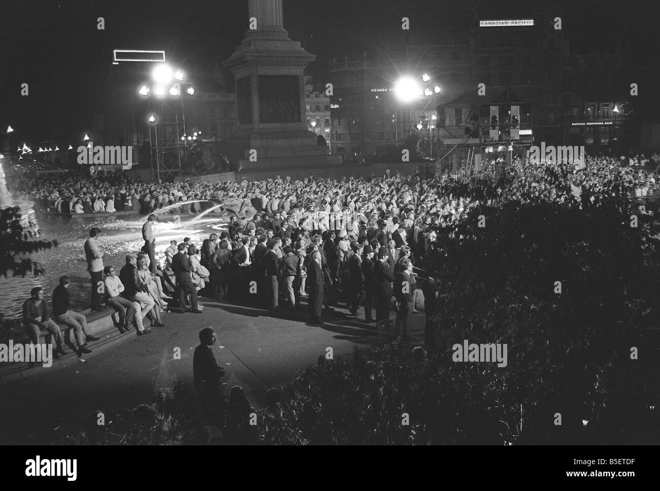 Trafalgar Square London July 1969 People Gather Late At Night In Stock Photo Royalty Free Image