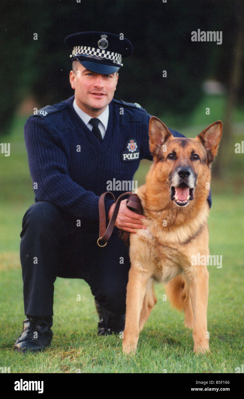 Police officer alex matthewson with police dog russ winner of the northumbria police dog trials