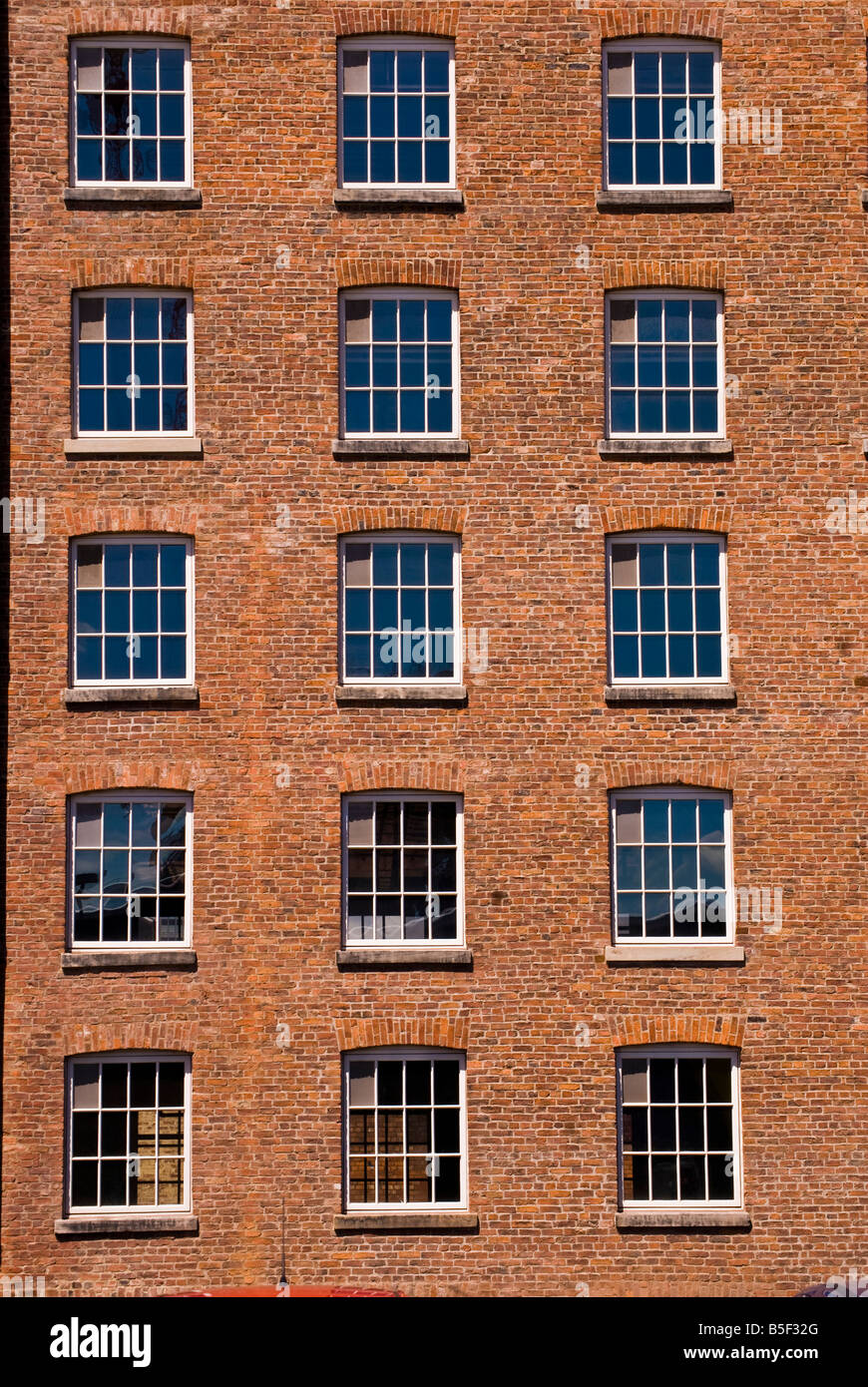 Windows And Brick Wall Of Converted Warehouse In Manchester Stock Photo Royalty Free Image
