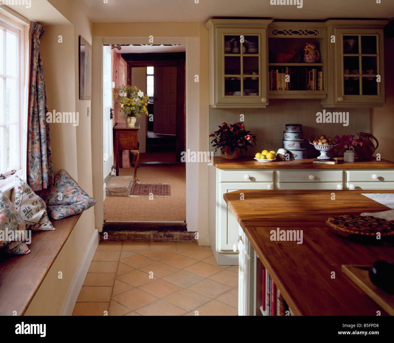 Kitchens With Terracotta Floors Cushions On Windowseat Of Country Kitchen With Terracotta Tiled