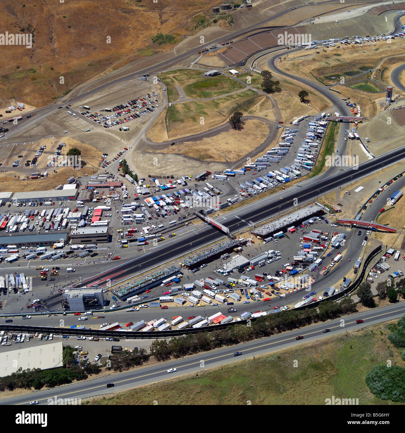 Aerial view above winston cup nascar racing at infineon raceway sears point automobile race
