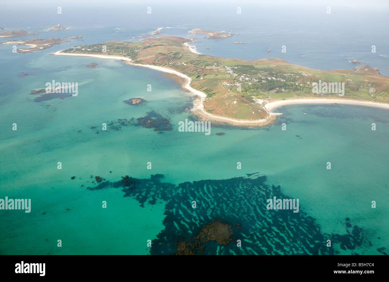 aerial view of st martins island  isles of scilly  uk