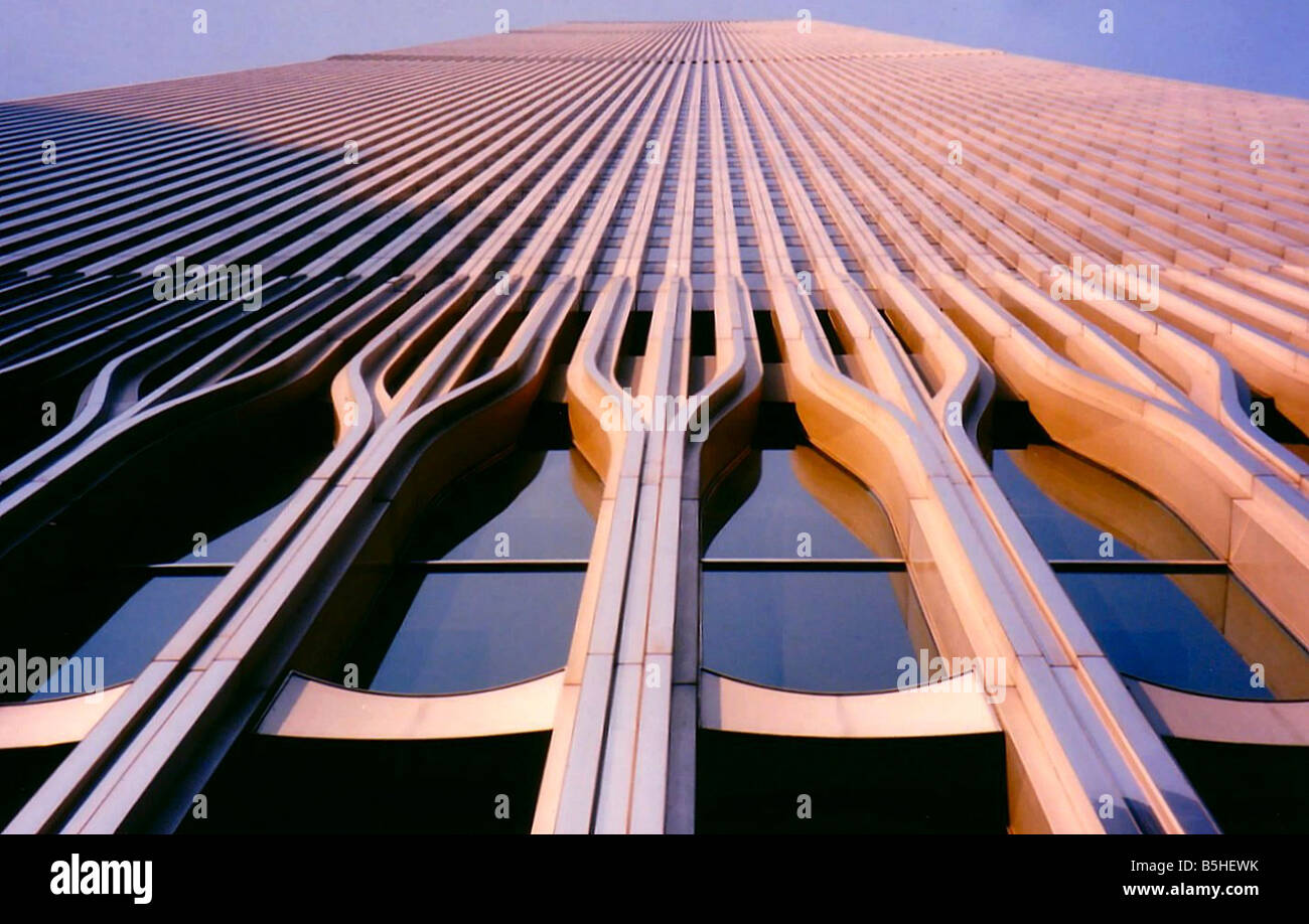 Stairway B Wtc North Tower : Looking up at the north tower of world trade center in