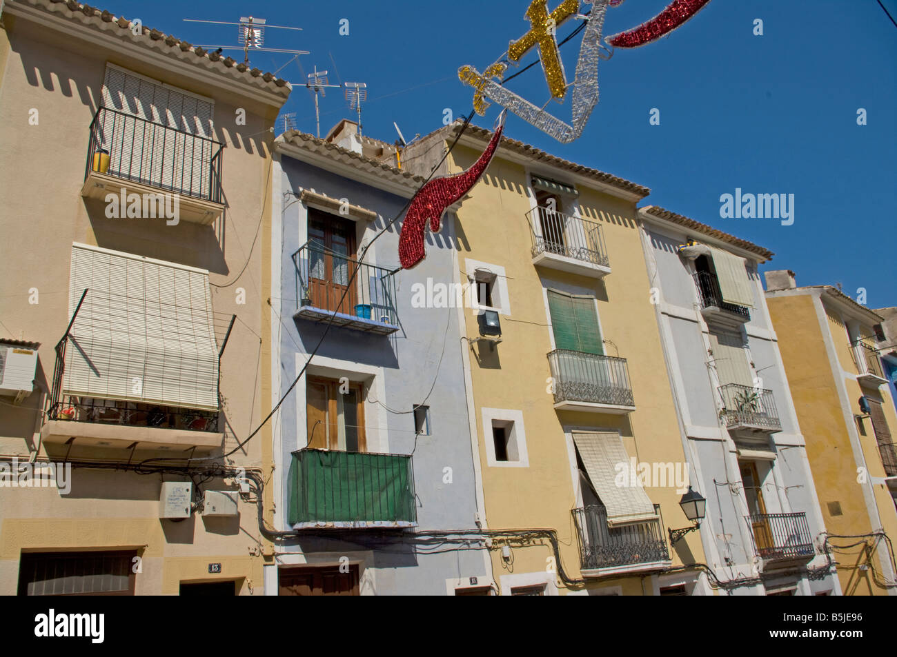Traditional spanish moorish houses villajoyosa spain stock for Moorish homes