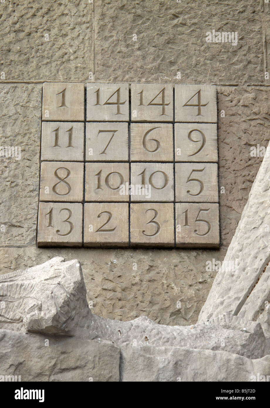 Stone carved cryptogram mysterious numerical code square