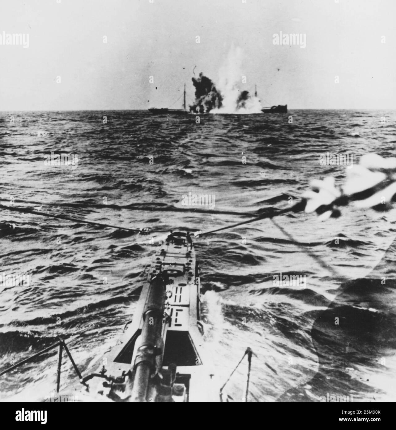 German U Boat attack World War I History War at sea ...