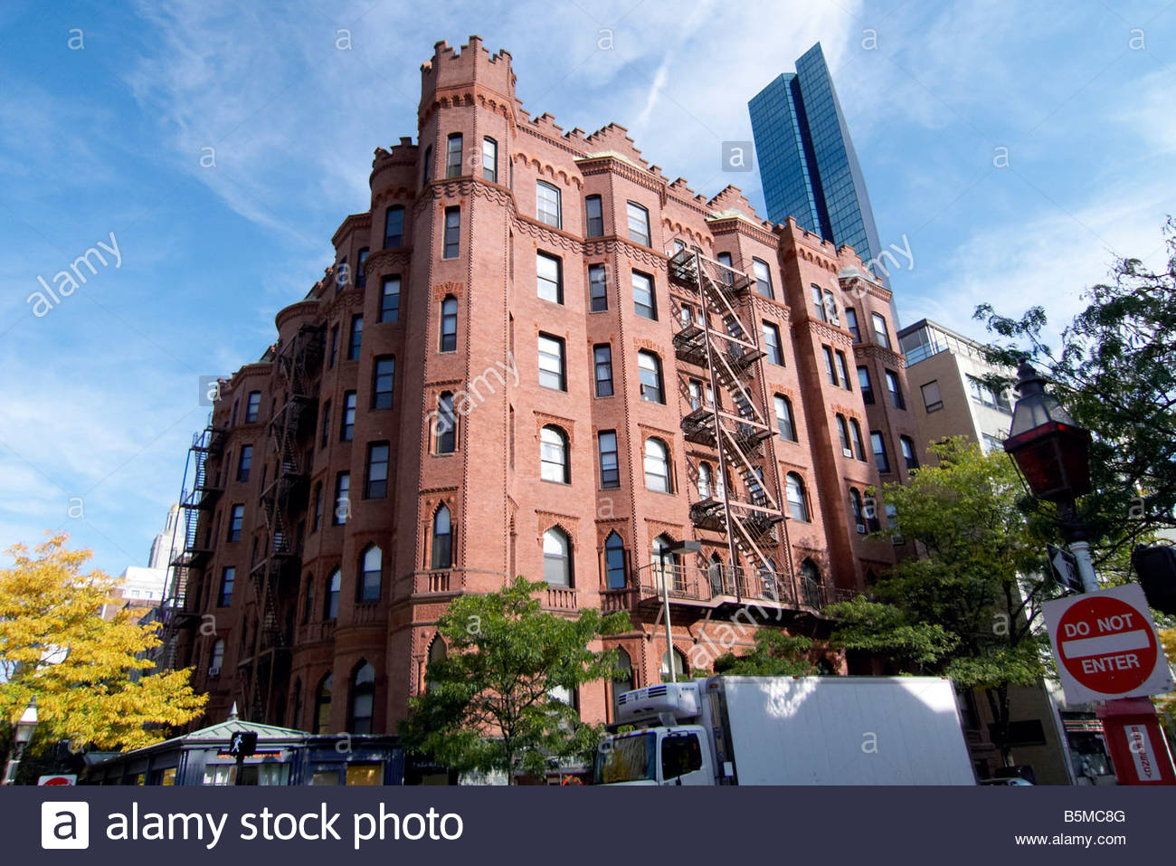 Apartment Building Boston red brick apartment building on the corner or newbury street in