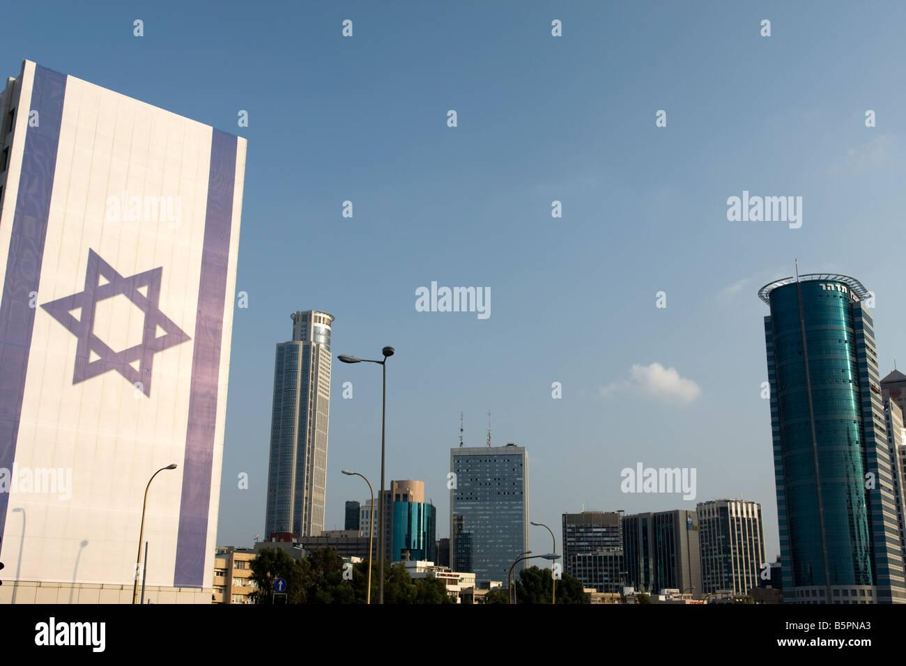 giant israeli flag ramat gan skyline tel aviv israel stock photo