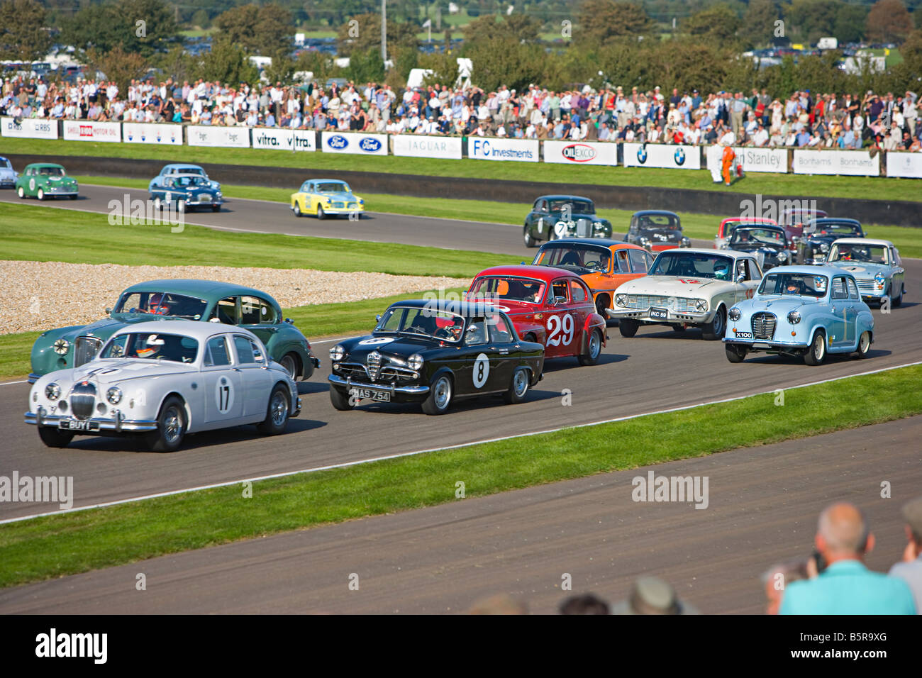 Classic car race at Goodwood Revival,  Goodwood, West Sussex. Stock Photo