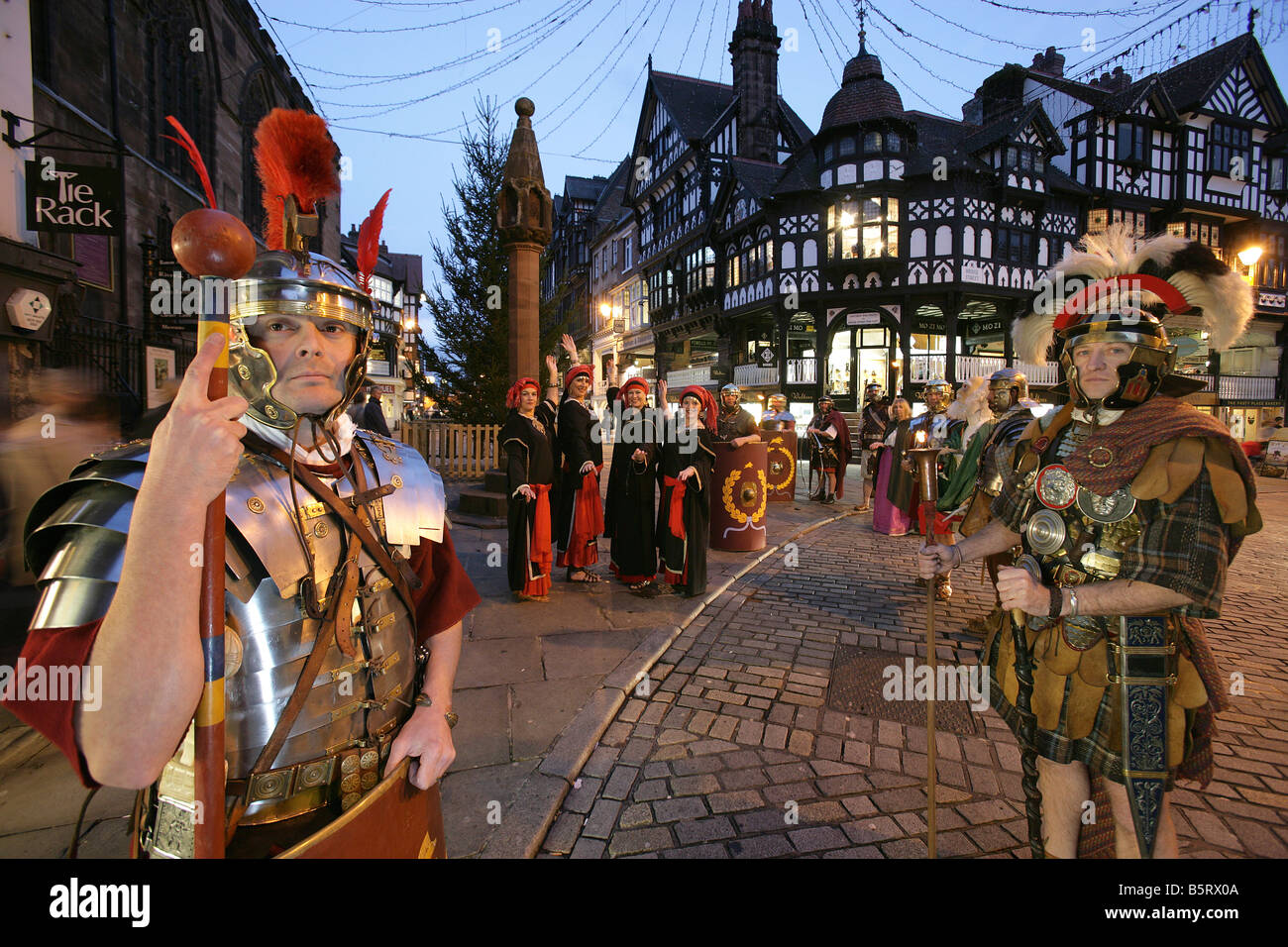 City of Chester, England. Roman Tours conducting a torchlight ...