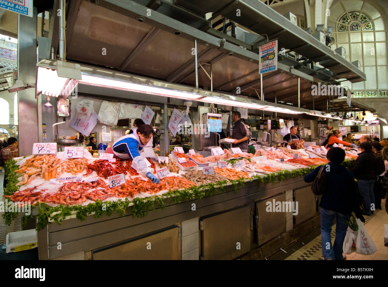 seafood stall in the central fish market mercado central