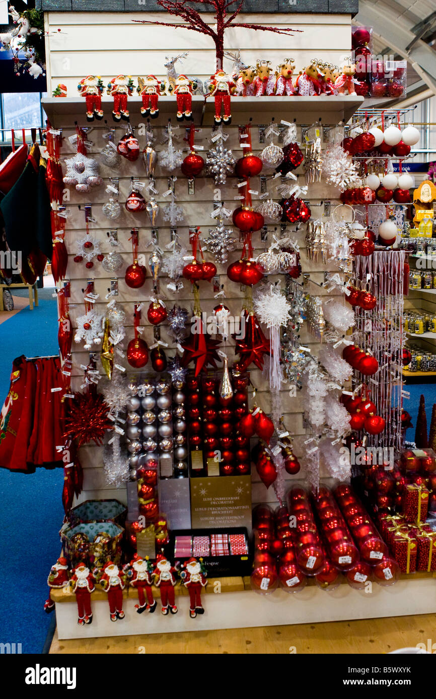 Red white silver xmas christmas decorations on a for Red and silver christmas decorations