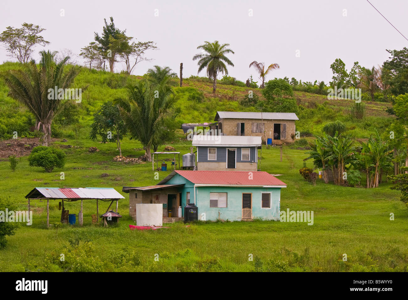 cayo district belize rural homes near san antonio village stock photo royalty free image. Black Bedroom Furniture Sets. Home Design Ideas