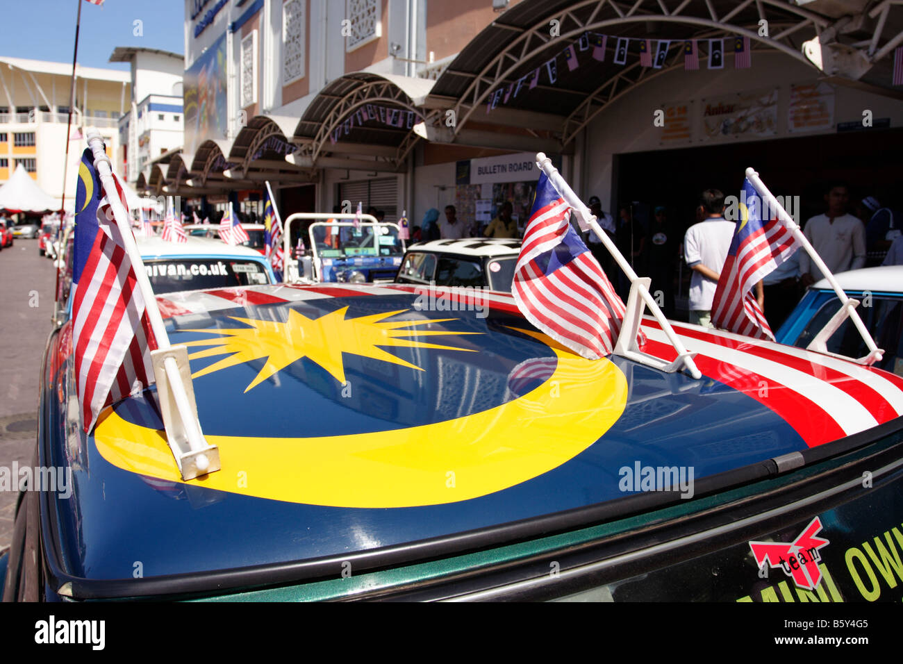 Malaysian Flag Painted On The Roof Of A Mini Cooper Car In