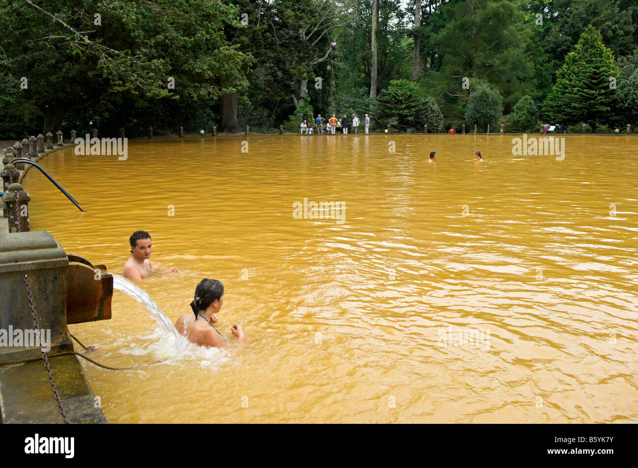 Swimmers In Thermal Hot Mineral Spring Pool At Terra Nostra Botanical Stock Photo Royalty Free