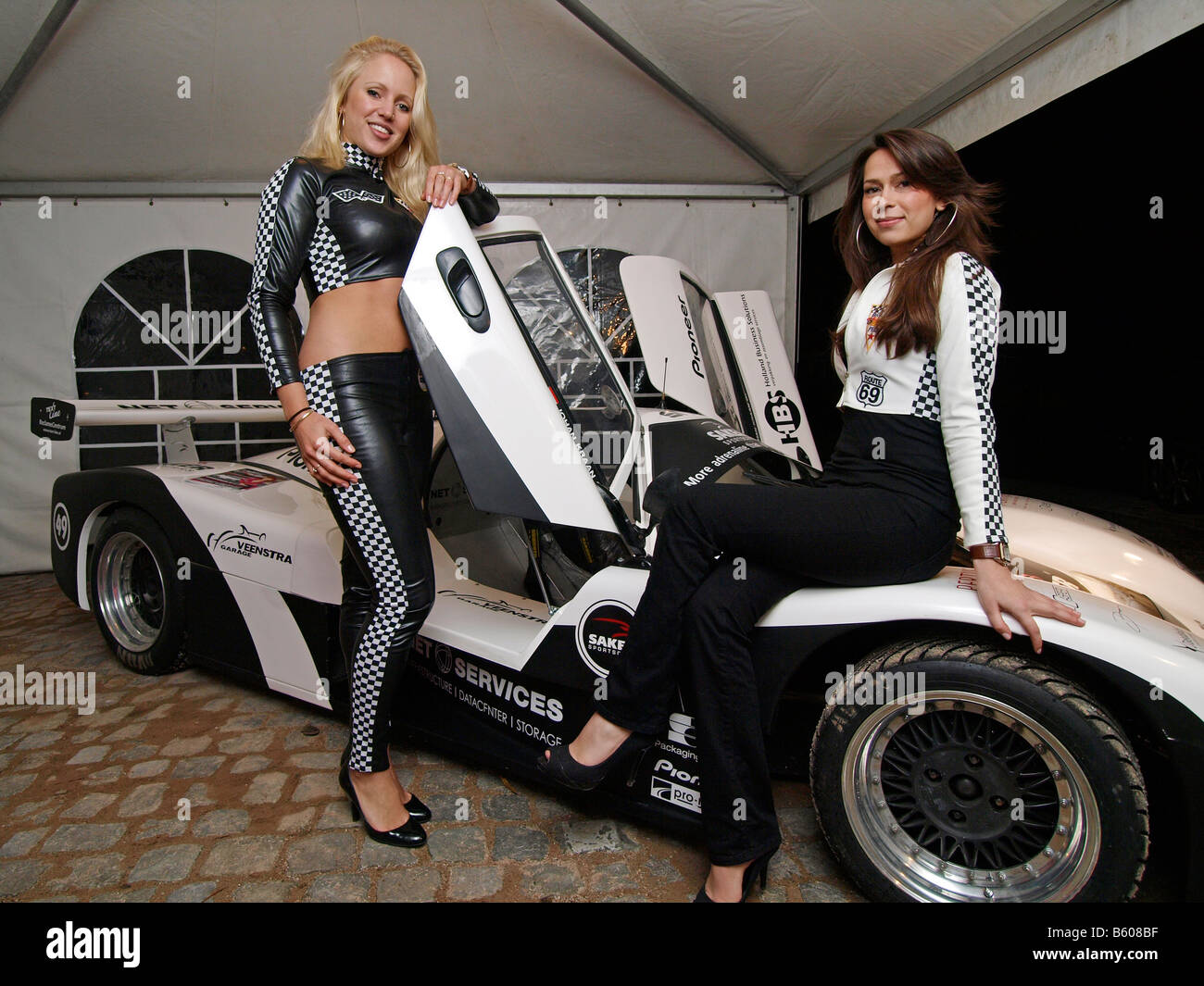 Two pretty girls with a Saker racing car Breda the netherlands ...