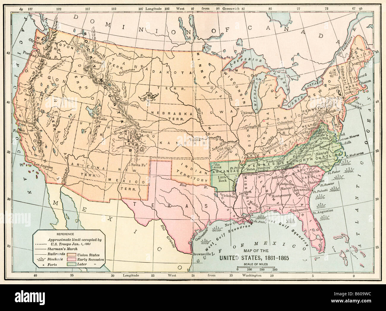 Map of the United States during the Civil War 1861 to 1865 Stock