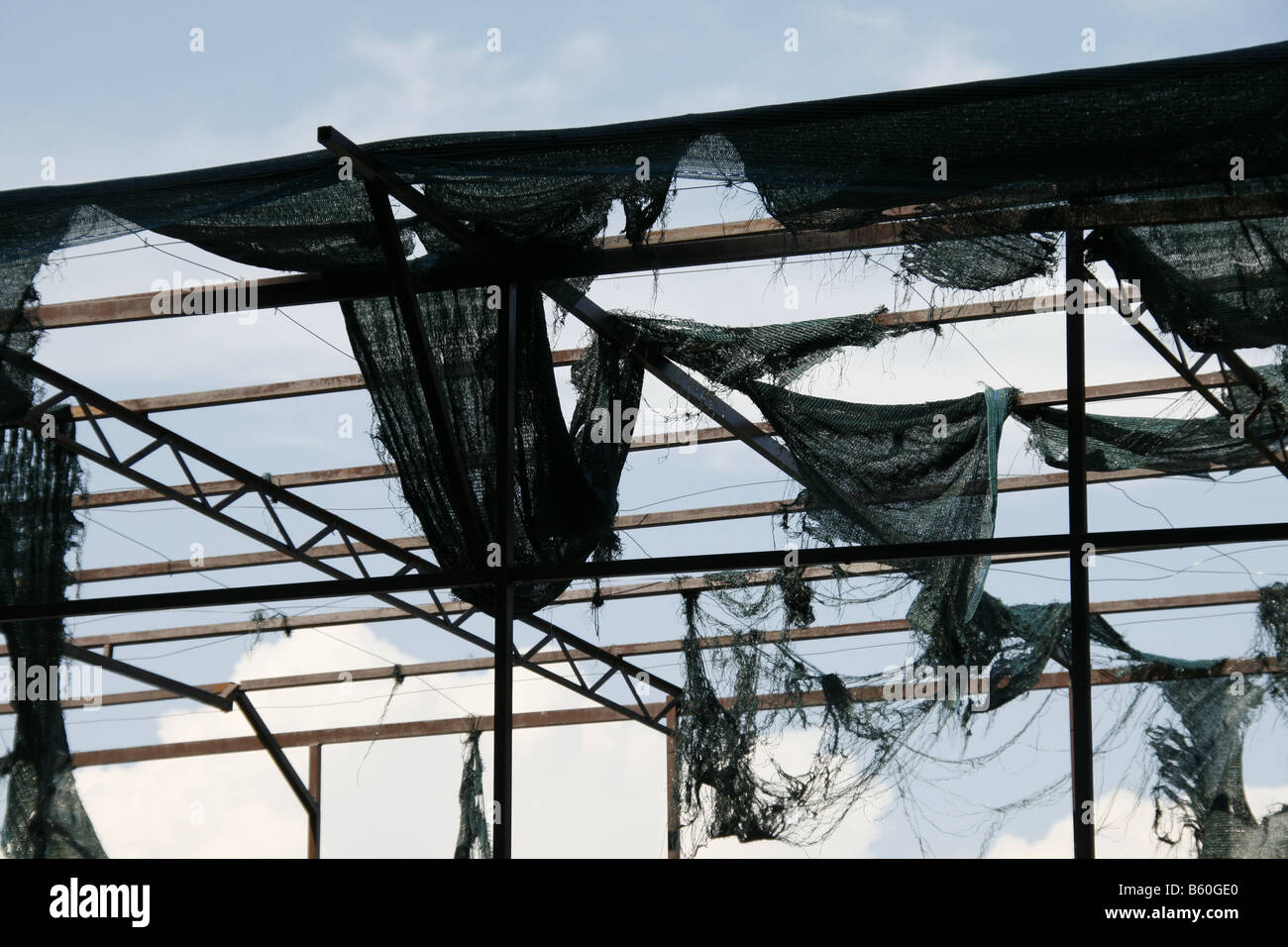 Stock Photo   Hanging Old Fabric On Roof Of Metal Scaffolding Structure  Outdoors In Sun