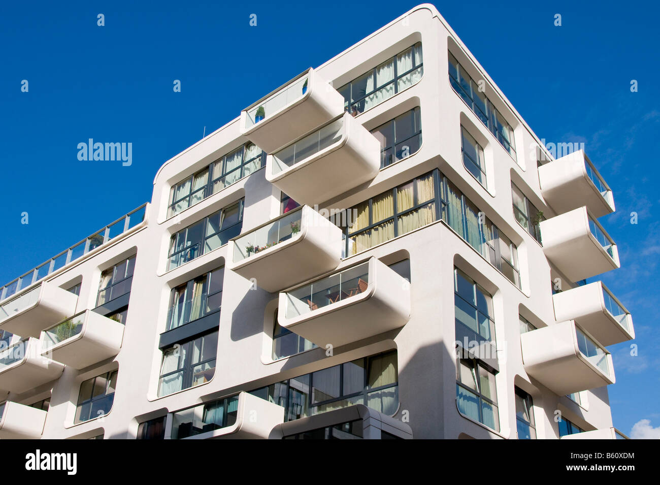 Modern Apartment Building modern apartment building in hafencity, hamburg stock photo