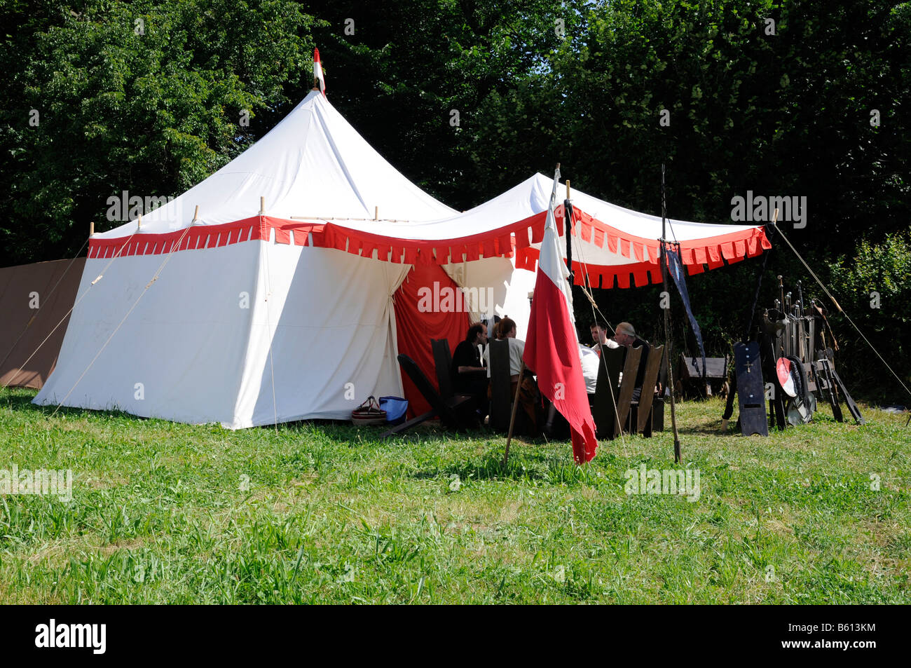 Knightu0027s banquet tents in a military c& arms weaponry market Waescherburg Castle Waeschenbeuren Baden-Wuerttemberg & Knightu0027s banquet tents in a military camp arms weaponry market ...