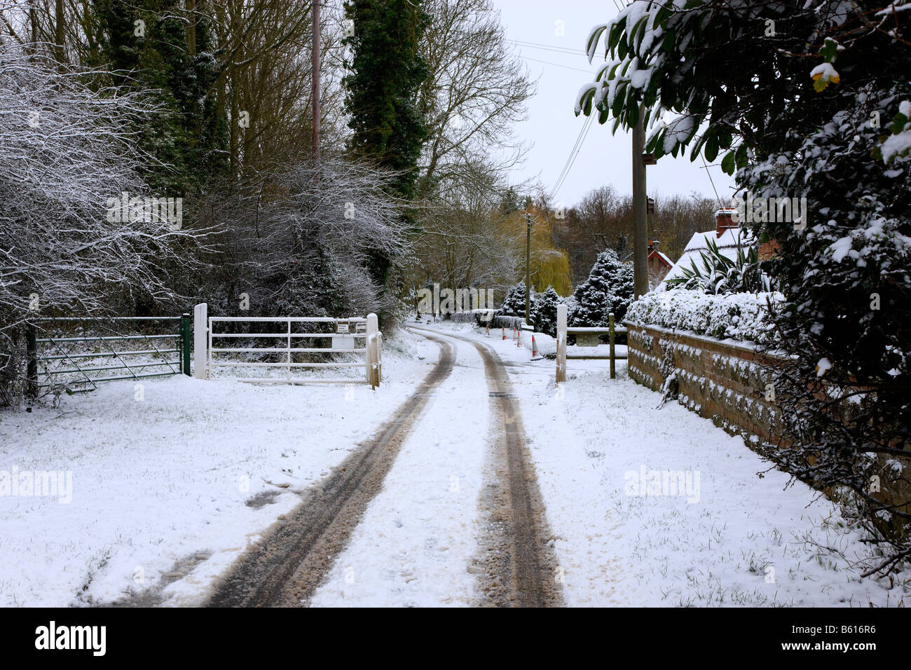 """Road Crossing A Cattle Grid During Snowfall In The """"british Stock ..."""