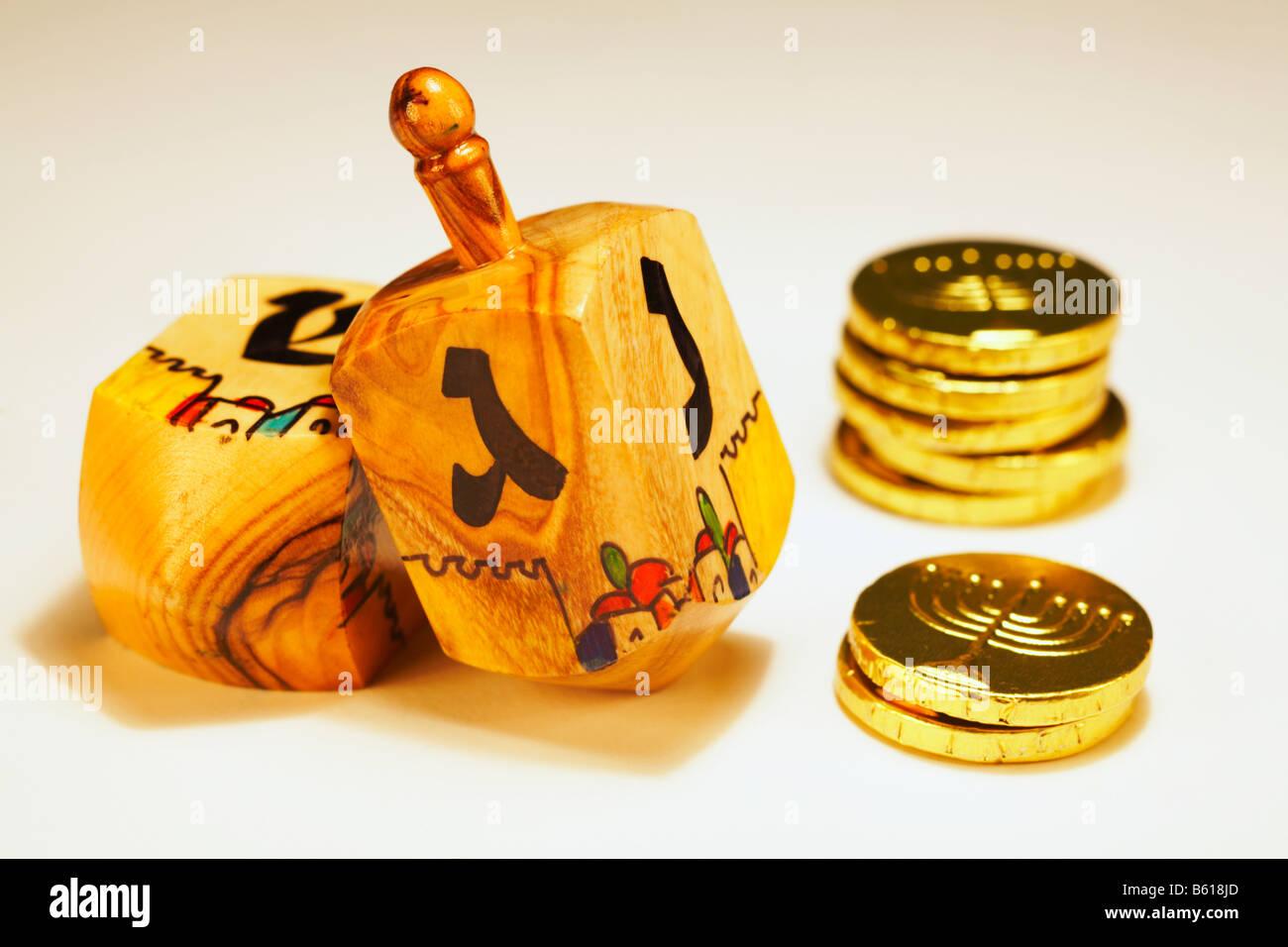 Jewish Dreidels Dreydles with Hanukkah Chanukah chocolate gold ...