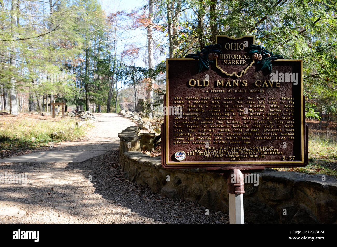 Old Man s Cave Historical Marker at Hocking Hills State Park Logan ...