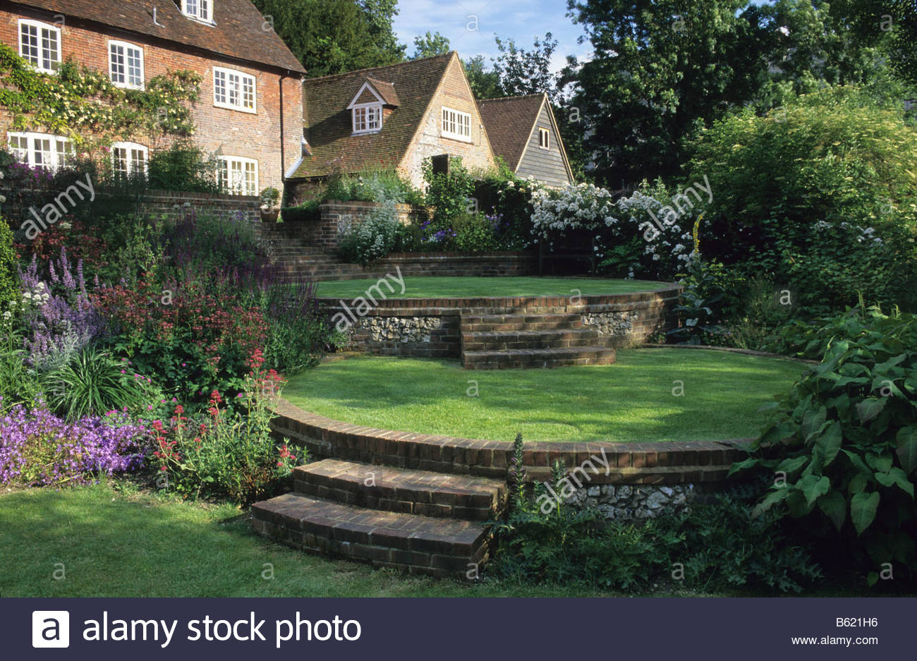 Home Farm Hampshire Design Fiona Lawrenson Terraced Circular Lawns And  Steps On Sloping Site With View Of House