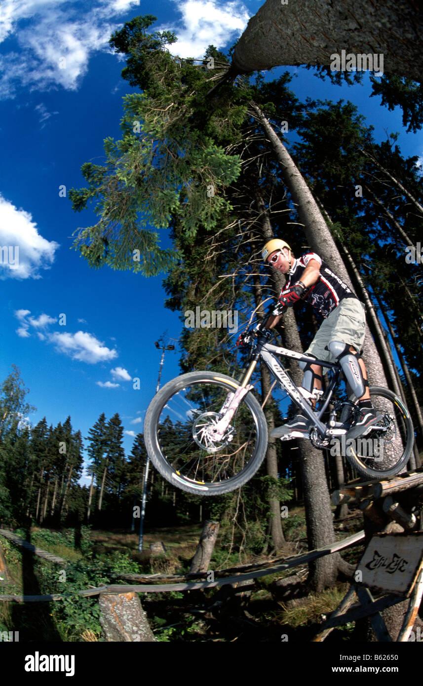 Mountainbiker Geisskopf Bike Park Bischofsmais Bavaria Germany