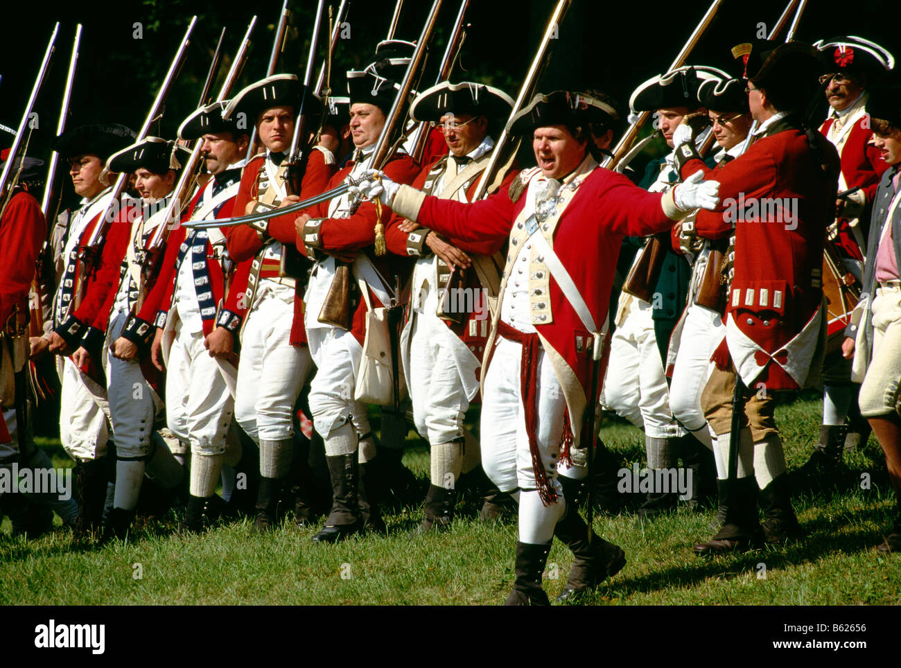 Red coat soldiers at a Revolutionary War encampment reenactment ...